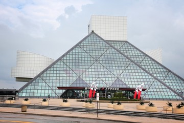 CLEVELAND, USA - JUNE 29, 2013: Exterior view of Rock and Roll Hall of Fame in Cleveland. It is a famous museum established in 1983, depicting history of influential rock artists.