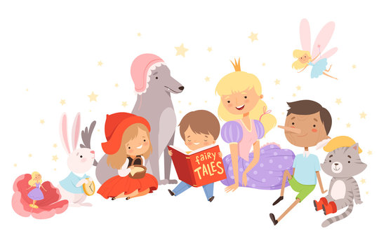 Little Boy Holding Opened Book Reading Fairy Tale with Fairy-tale Characters Sitting Behind Him Vector Illustration