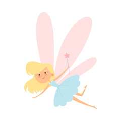 Tooth Fairy Flying with Magic Wand Vector Illustration