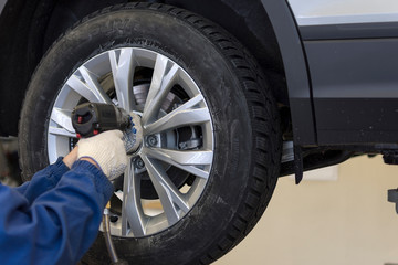 A professional auto mechanic with a pneumatic tool loosens the bolts to replace the wheels of a car in a car service.