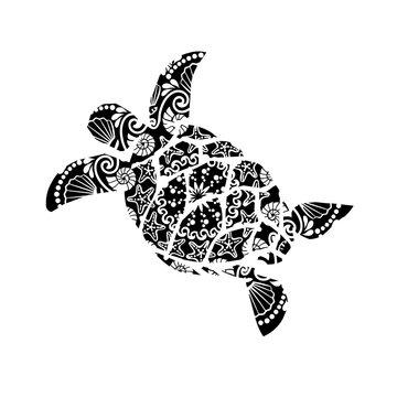 Zentangle Turtle. SVG clipart ocean. Sea mandala wall art. Vacation.