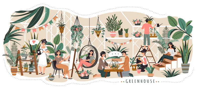 People in greenhouse coworking space for rest and work watering plants and talking with friends, vector illustration. Home plants flowerpots, men and women growing houseplants. Relaxing greenhouse