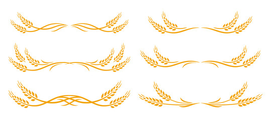 wheat spikes set icon with design elements