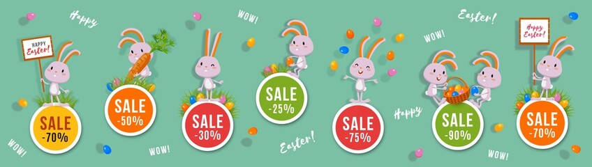 Easter discounts set of round banners with cute bunnies and Easter eggs. Isolated vector clip art with amusing rabbits for festive sale and advertising design
