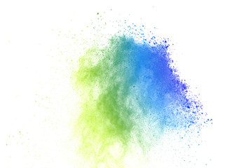 Freeze motion of colorful color powder exploding on white background.  Paint Holi. Fototapete