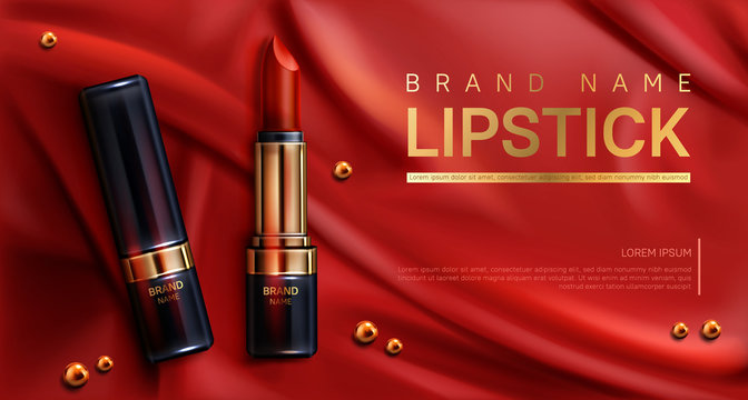 Lipstick cosmetics make up beauty product mockup banner. Makeup rouge on red silk draped fabric background with scattered golden pearls. Luxury promo poster template for magazine, realistic 3d vector