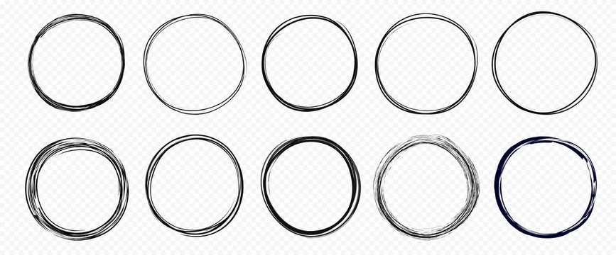 Hand drawn circle line sketch set isolated on transparent background. Vector circular scribble doodle round circles for  message and for note mark . Vector illustration