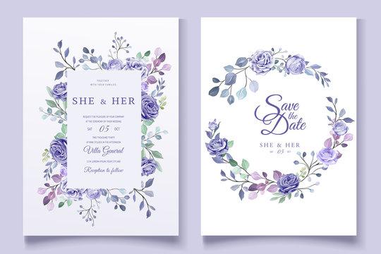 purple floral wedding invitation card