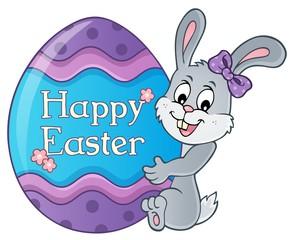 Deurstickers Voor kinderen Bunny by big Easter egg topic 1