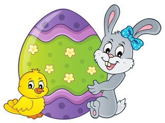 Deurstickers Voor kinderen Bunny by big Easter egg topic 2