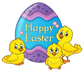 Autocollant pour porte Enfants Happy Easter theme with egg and chickens