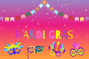 Carnival or Mardi Gras banner with cartoon masks and flags masquerade vector illustration. Venetian festival holiday Mardi gras colorful invitation.