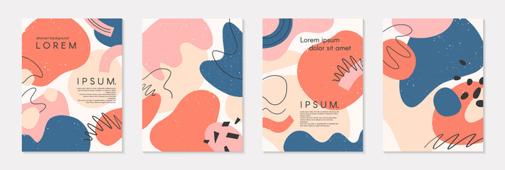 Set of modern colorful vector collages with hand drawn organic shapes and textures.Trendy contemporary design perfect for prints,flyers,banners,brochure,invitations,branding design,covers and more