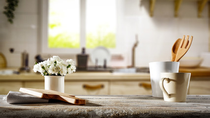 Desk of free space for your decoration and kitchen interior with big spring window background.