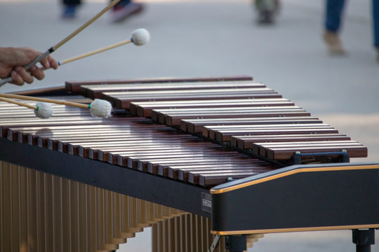 Cropped Hand Of Person Playing Xylophone On Street