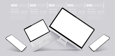 Computer, tablet and smartphone responsive with white screen. Mockups gadgets vector set. 3D realistic models technology device and electronics. Gadgets from different angles, perspective, isometric.