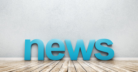 3D rendering of News Word Leaning On Wall