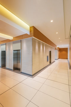 Empty hallway or lobby in a modern office or apartment.
