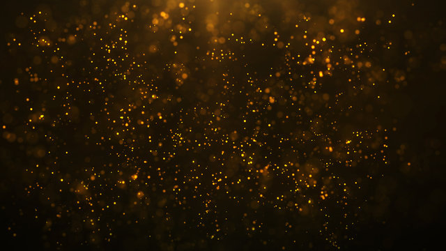 golden particles shining stars dust bokeh glitter awards dust abstract background. Futuristic glittering in space on black background.