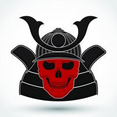samurai helmet red skull symbol