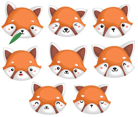 a vector of many red pandas in many expression