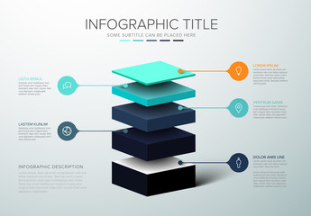 Obraz Vector Infographic layers template - fototapety do salonu