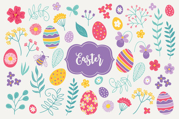 Easter design elements - flowers, bee, eggs, daisy, violet, leaves, branches