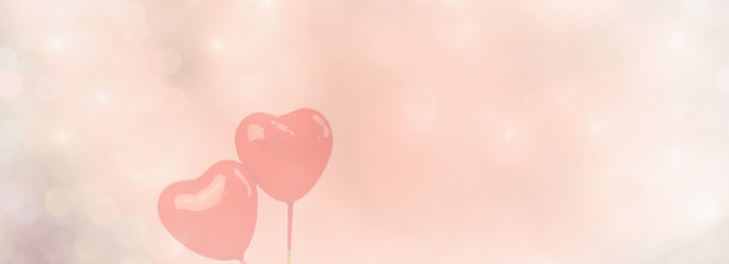 Fototapete - valentines day background with two red hearts - copy space
