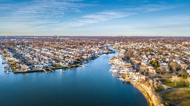 Aerial South Shore Long Island During Sunset
