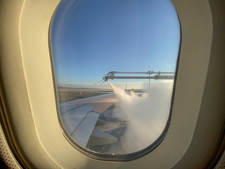 Deicing airplane before take off