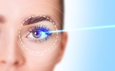Beautiful female eye with blue laser ray. Vision correction surgery.