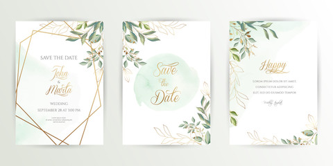 Watercolor wedding set. Set of card with leaves and golden geometric frame. Design with forest green leaves, eucalyptus, fern. Floral Trendy templates for banner, flyer, poster, greeting. eps10 Wall mural