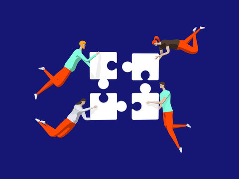 Well-coordinated Teamwork Concept. Characters Connecting Puzzle Pieces. Vector illustration. Business, Creative Solutions, Collaboration and Partnership with People Working Together.