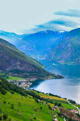 The landscape of Aurlandsfjord in Norway.