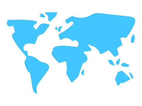 world map silhouette in modern minimal style simple stylized