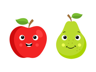 Two cartoon fruit characters isolated on white: apple and pear