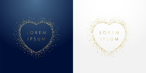Photo sur Aluminium Creatures Golden sparkling ring heart with dust glitter graphic on dark blue and white background. Glorious decorative glowing shiny design. Discount badge with empty center. Love vector sign