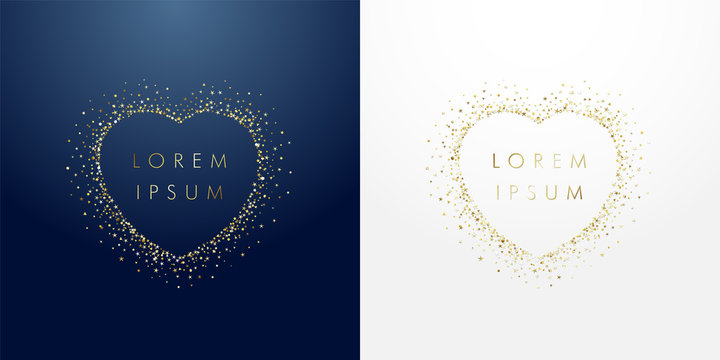 Golden sparkling ring heart with dust glitter graphic on dark blue and white background. Glorious decorative glowing shiny design. Discount badge with empty center. Love vector sign