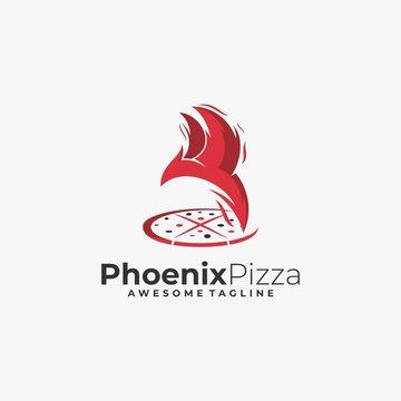 Vector Logo Illustration Phoenix With Pizza Line Art Style