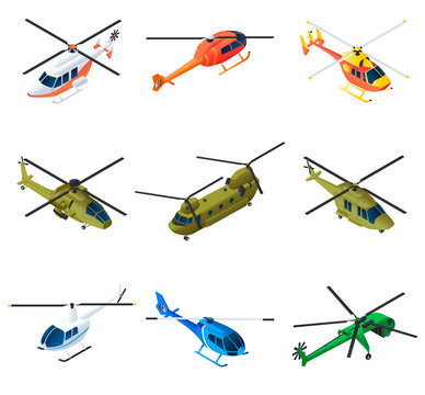 Helicopter icons set. Isometric set of helicopter vector icons for web design isolated on white background