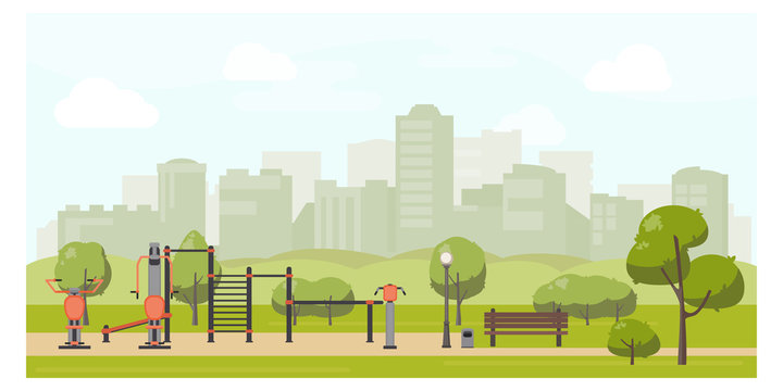 Urban park landscape flat illustration with street workout zone. Sport playground, outdoor gym equipment. Stock vector.