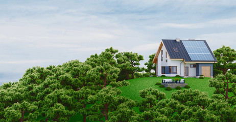 Photovoltaic Solar Panels on Newly Built Modern House, 3d rendering