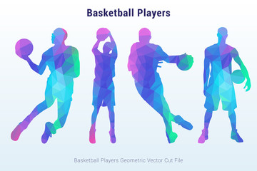 Basketball Players in Geometric Vector
