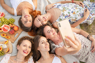 View from above. The company of beautiful girlfriends have fun and enjoy a picnic outdoors and take pictures on a mobile phone