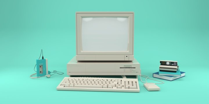 Retro computer, audio player and photo camera on blue pastel background 3d render