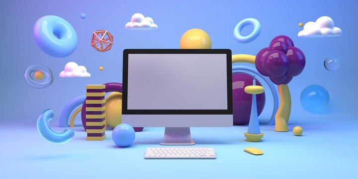 Mock up composition with computer and geometry figures 3d render