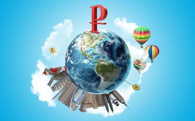 Russian Ruble Symbol Stands On Globe