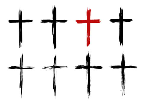 Christian cross of Jesus Christ, hand drawn, Cross symbol of crucifixion and faith. Brush stroke texture. Grunge christian cross. Vector set