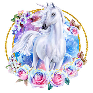 White fairytale unicorn with blue and pink roses in a gold frame, in a ring. Horse in flower wreath or ornament isolated on a white background
