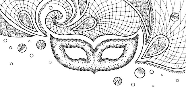 Dotted carnival mask, outline lace and Mardi Gras beads in black isolated on white background.
